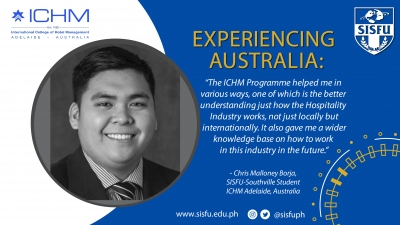 Experiencing Australia: Chris Borja as a SISFU Hospitality Student to Study in ICHM, Adelaide